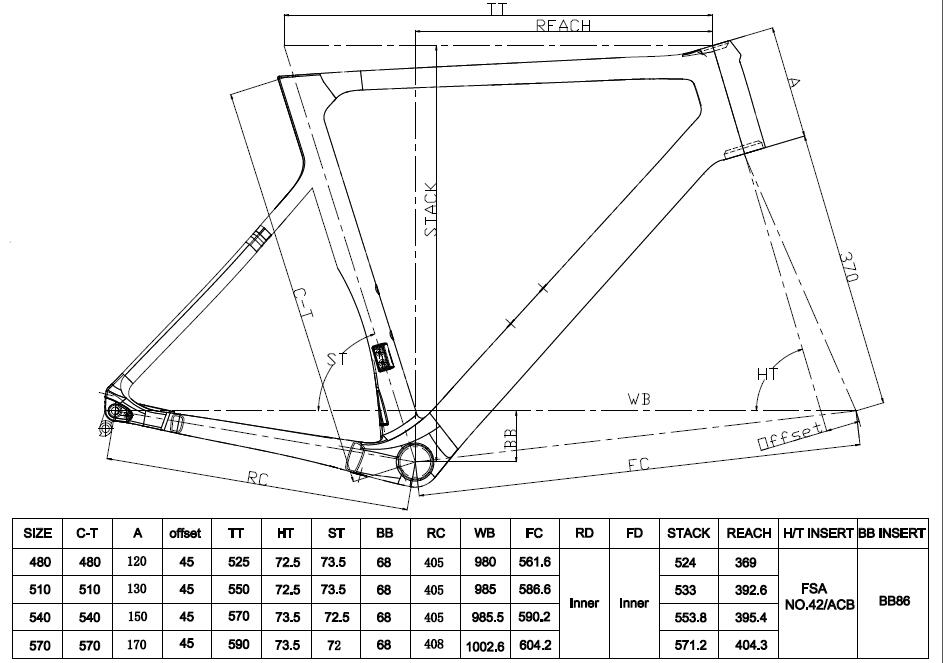 LCR014-D disc road frame geometry